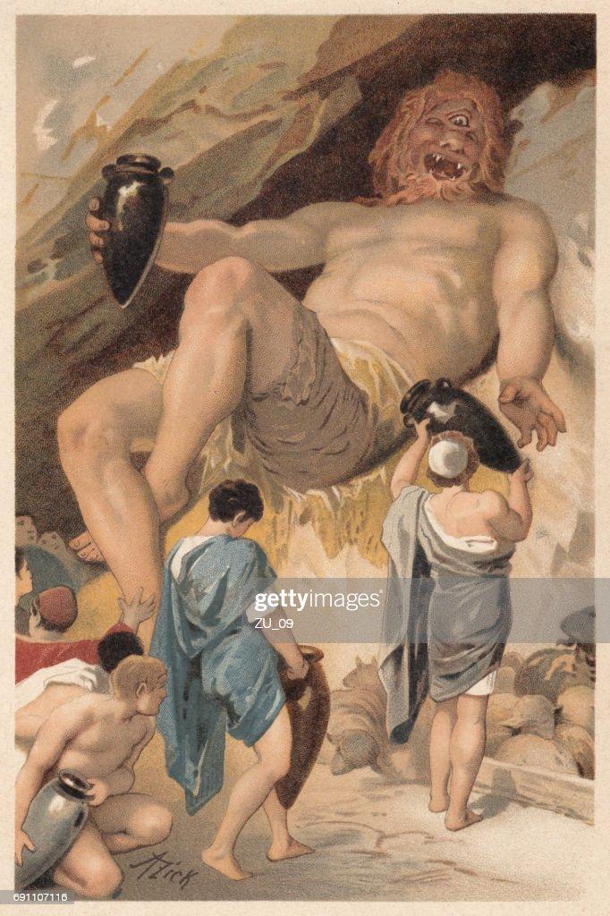 Ulisses faz litografia de bêbado, mitologia grega, Polifemo, publicada 1897 : Ilustração