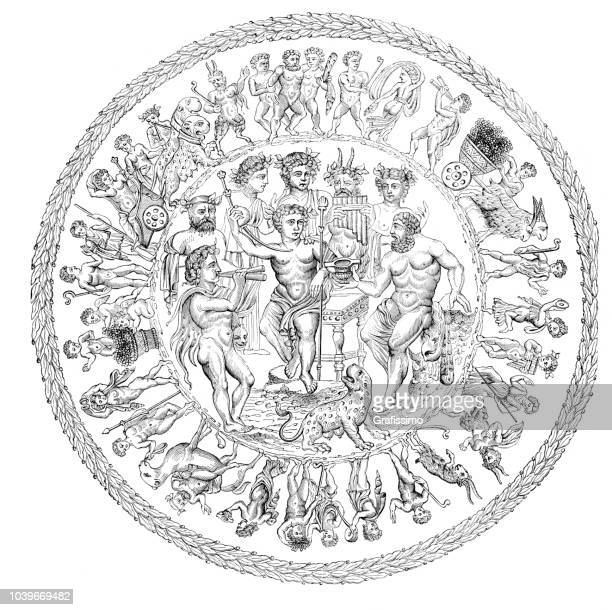 offering bowl showing the triumph of god bacchus over hercules - rennes france stock illustrations, clip art, cartoons, & icons
