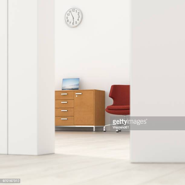 Office behind ajar door, 3d rendering