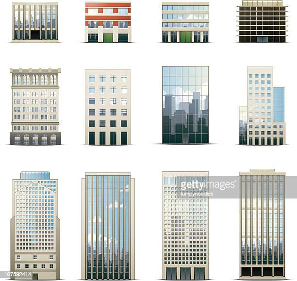 office building icons - skyscraper stock illustrations