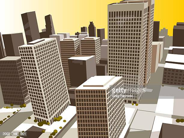 office buildings, elevated view - high street stock illustrations