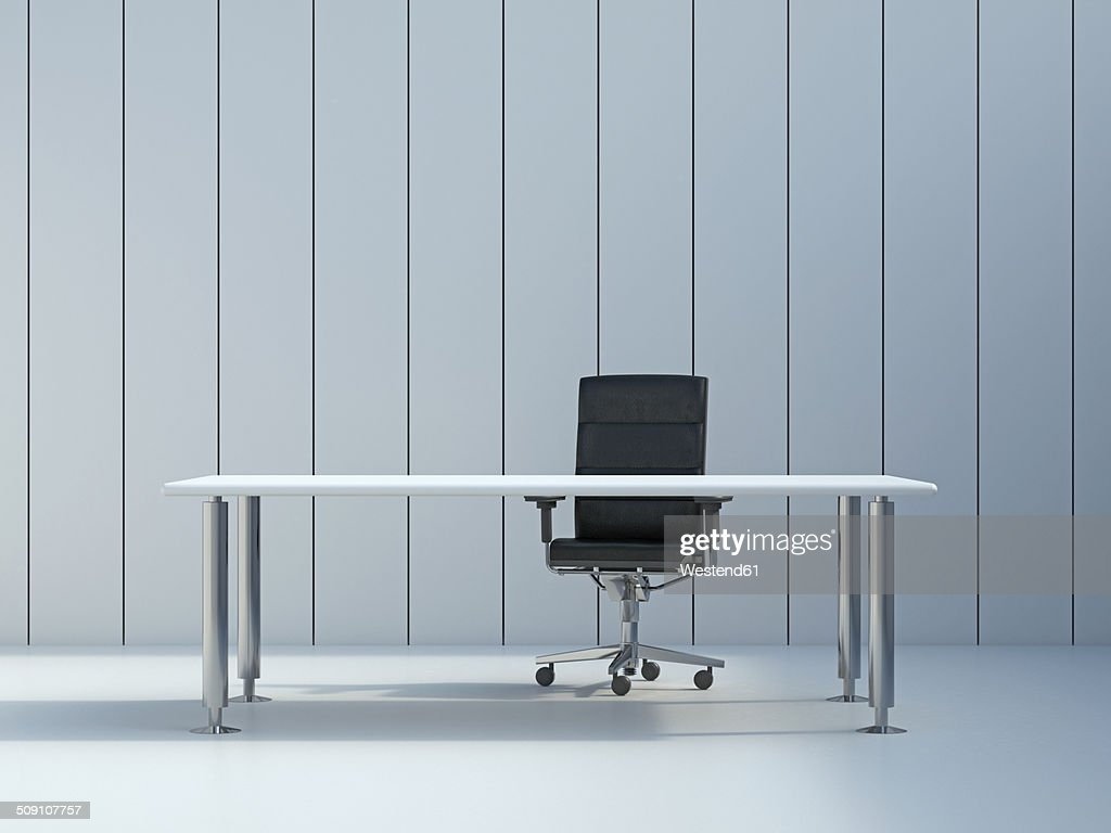 office wall panel. Office Chair And Conference Table In Front Of Grey Wall Panel, 3D Rendering : Stock Panel