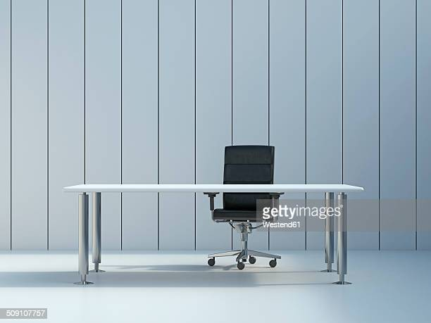 office chair and conference table in front of grey wall panel, 3d rendering - no people stock illustrations
