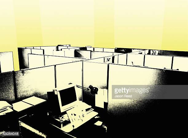 Office cubicles, elevated view