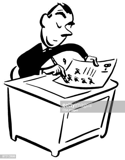 ilustraciones, imágenes clip art, dibujos animados e iconos de stock de office desk - un solo hombre