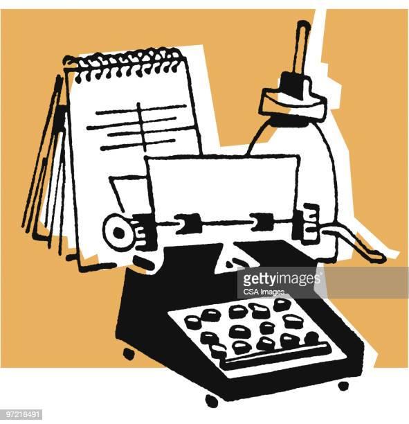 office desk - report stock illustrations