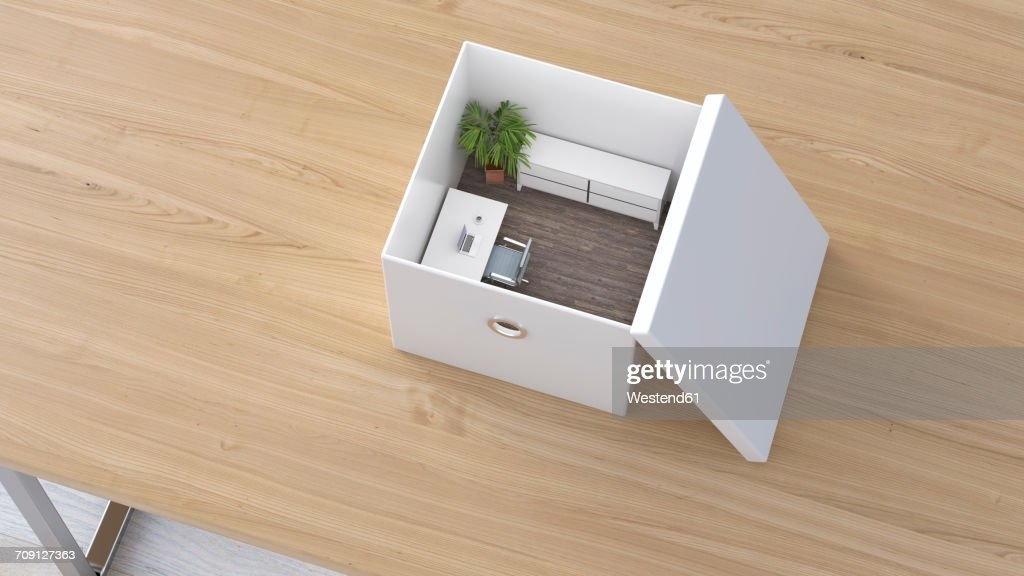 Office in a box furniture Wall Office In Box 3d Rendering Stock Illustration Getty Images Office In Box 3d Rendering Stock Illustration Getty Images