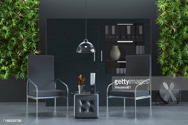 office interior with living walls, 3d rendering - paperwork stock illustrations