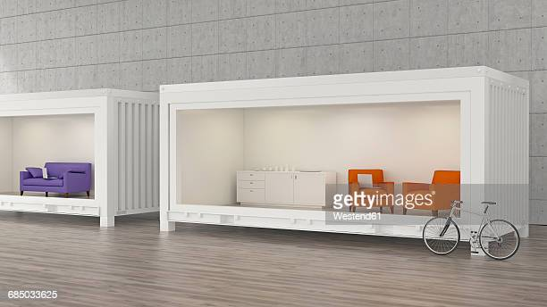 Office lounge furniture in containers, 3D rendering
