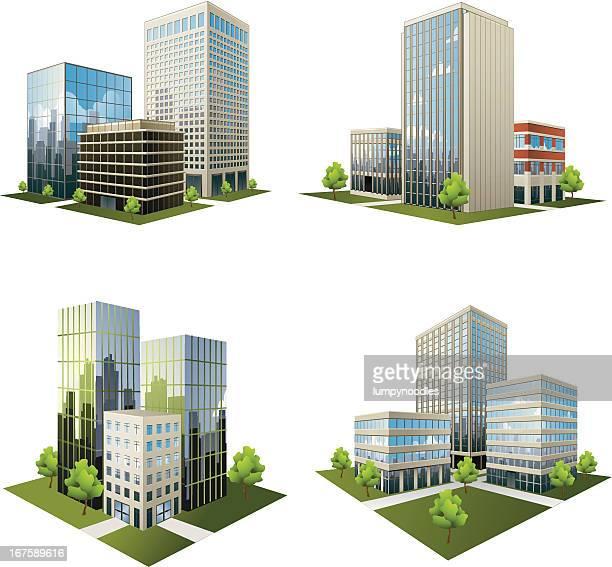 illustrazioni stock, clip art, cartoni animati e icone di tendenza di office park icone - grattacielo