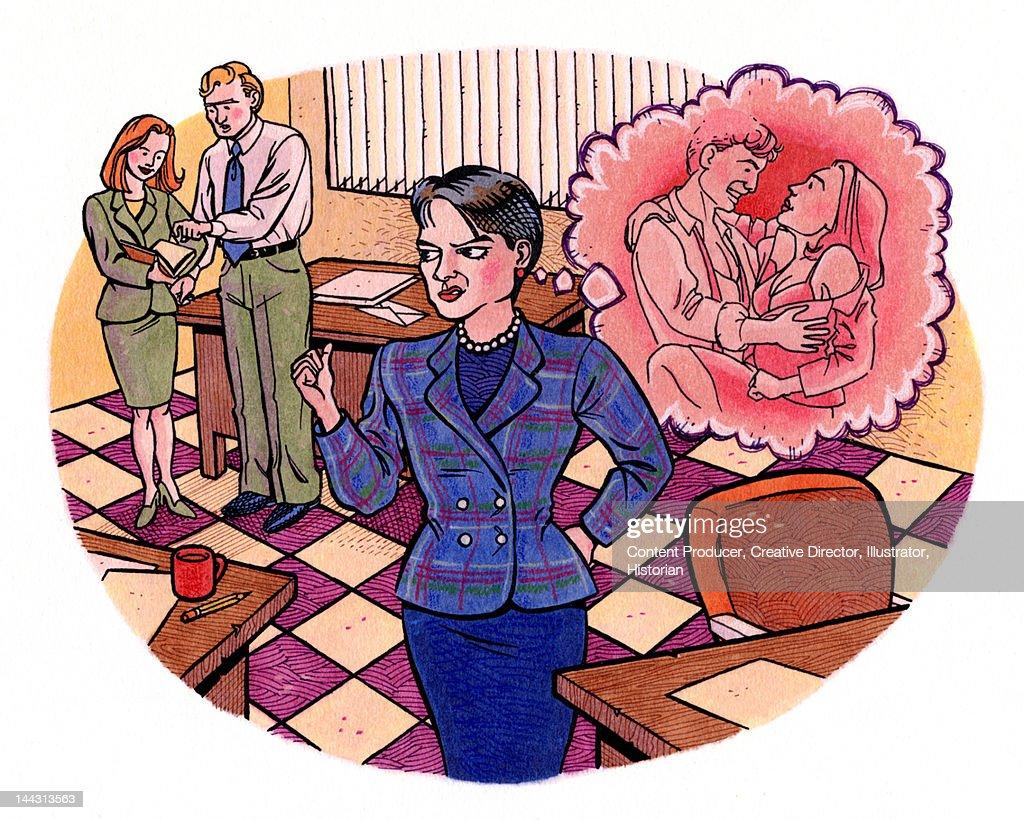 Office romance : stock illustration