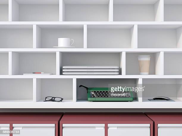 office shelf with typewriter, laptops, coffe cup and other things, 3d rendering - office stock illustrations
