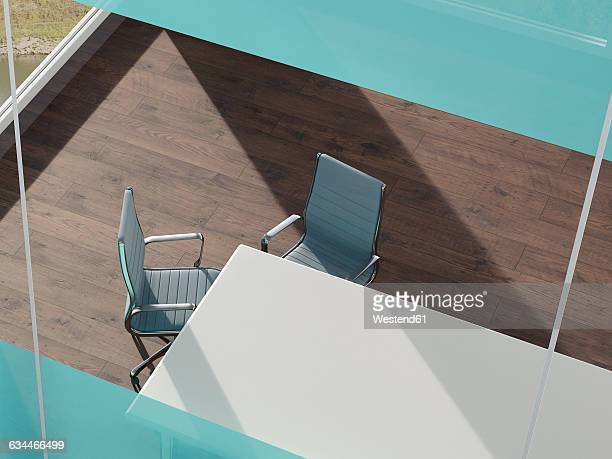 office with desk and two tables seen from above, 3d rendering - floorboard stock illustrations, clip art, cartoons, & icons