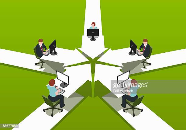 office workers sitting at desks - business stock illustrations