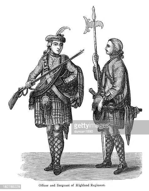 officer and sergeant of highland regiment - halberd stock illustrations