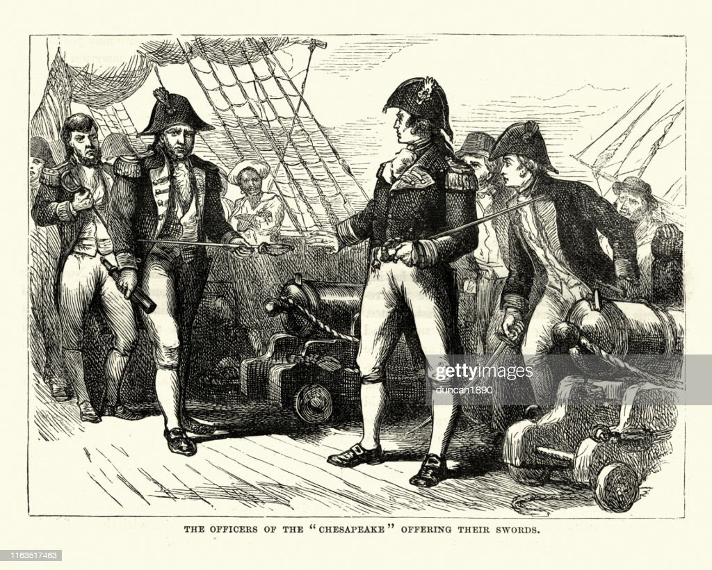 Officers of the USS Chesapeake offering their swords : Stock Illustration