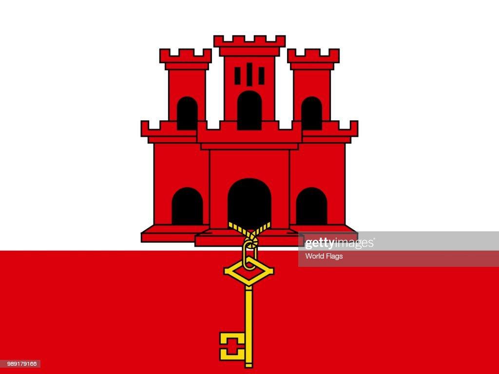 Official national flag of Gibraltar : stock illustration