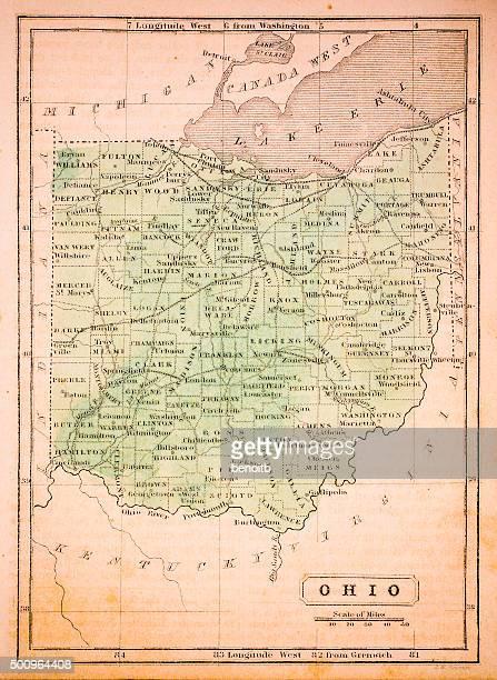 ohio 1852 map - lake erie stock illustrations, clip art, cartoons, & icons