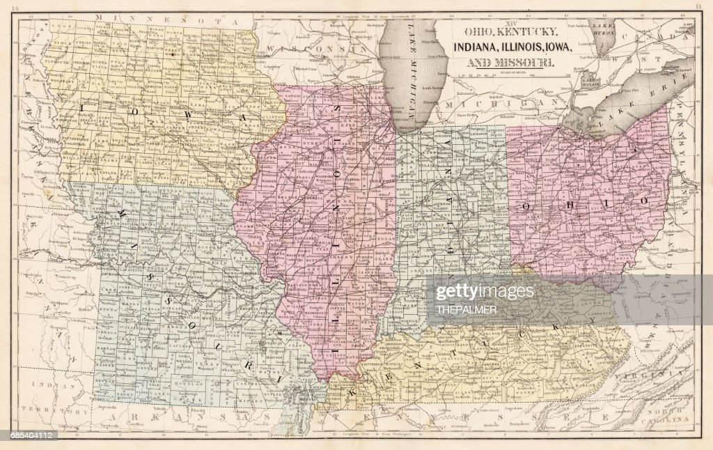Ohio Indiana Illinois Map 1867 Stock Illustration Getty Images