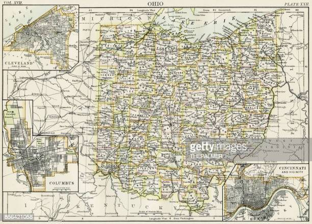 Columbus ohio stock illustrations and cartoons getty images ohio map 1884 malvernweather Gallery