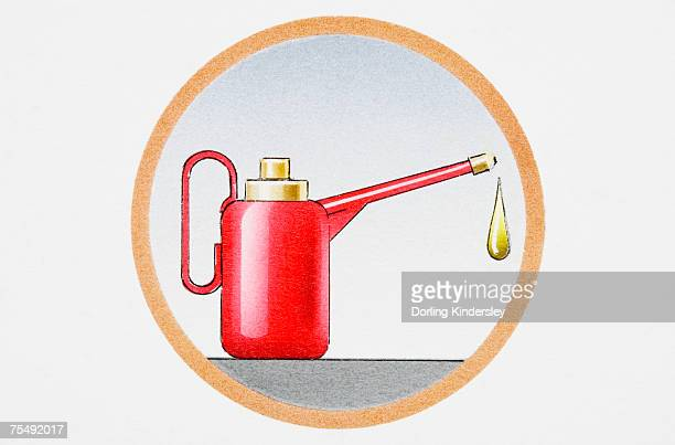 Oil can with drip falling from spout