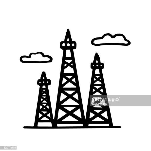 ilustraciones, imágenes clip art, dibujos animados e iconos de stock de oil drilling rigs - torre petrolera