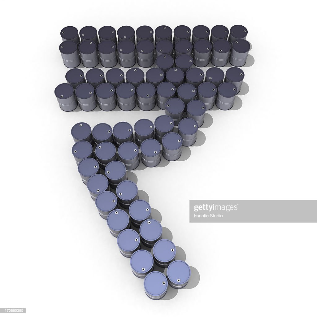Oil Drums In Form Of Indian Rupee Symbol Stock Illustration Getty