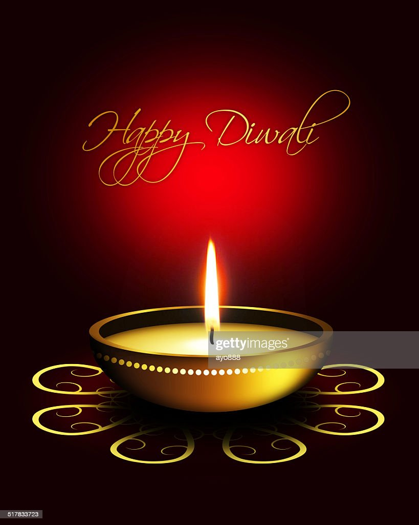 Oil Lamp With Diwali Greetings Over Dark Background Stock