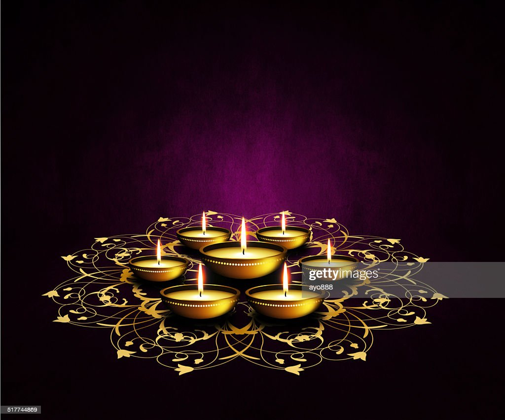 Oil Lamps With Place For Diwali Greetings Over Dark Background Stock