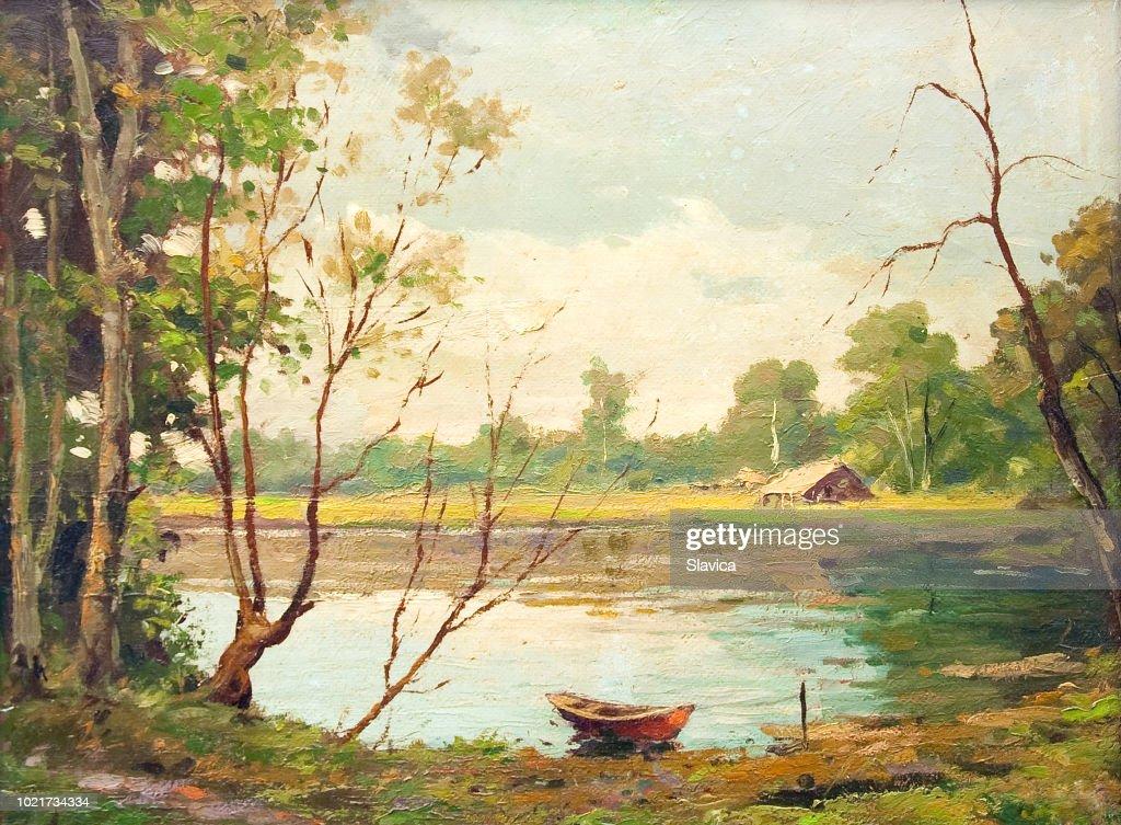 Pittura ad olio - Barca sul lago : Illustrazione stock