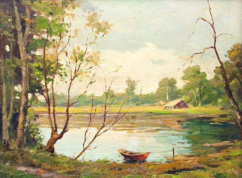 Oil landscape painting - Boat on the lake - gettyimageskorea