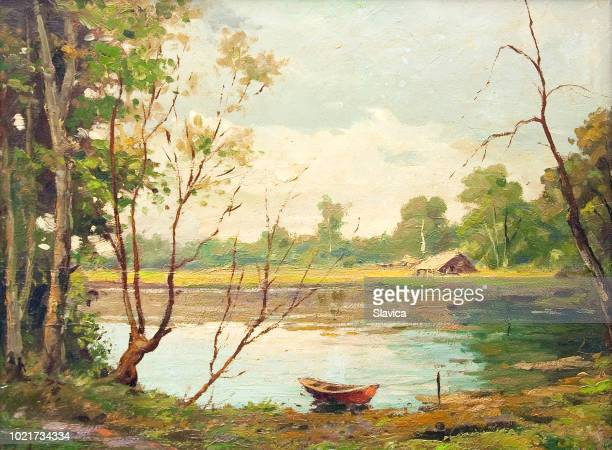 illustrazioni stock, clip art, cartoni animati e icone di tendenza di oil landscape painting - boat on the lake - dipinto