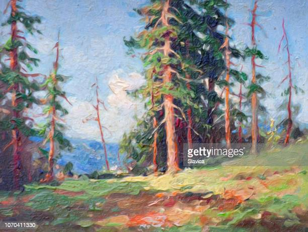 oil landscape painting showing autumn forest - oil painting stock illustrations