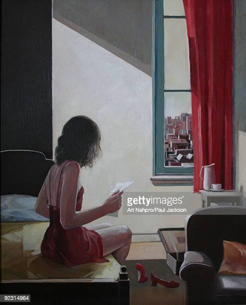 oil on canvas - anticipation stock illustrations