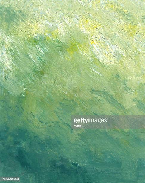 Oil painted abstract background in green, blue. colors