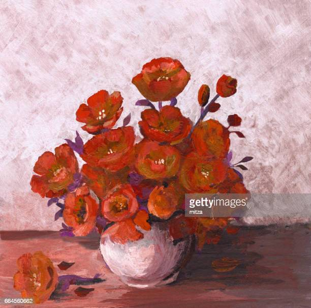 Oil painted bunch of red poppies arrangement in white vase