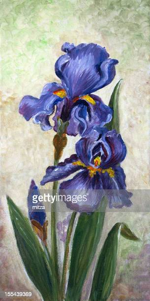 Oil painted canvas with blue iris flowers