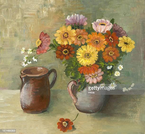 Oil Painted Flowers Arrangement