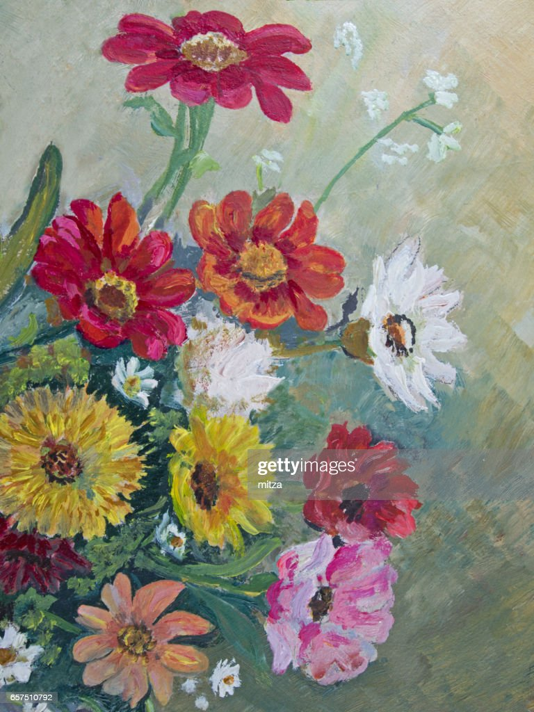 Oil Painted Multi Colored Daisy Family Flowers Stock Illustration