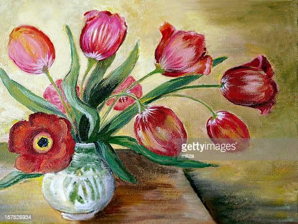 Oil Painted Red Tulip Arrangement