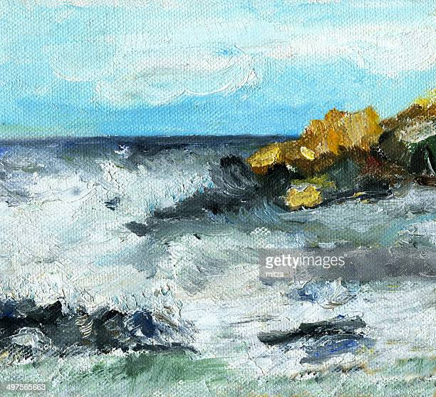 Oil painted seascape in stormy weather