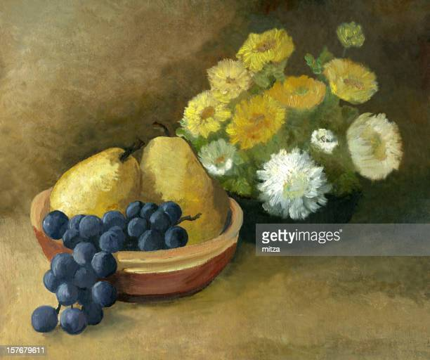 Oil painted still life with fruit and flowers
