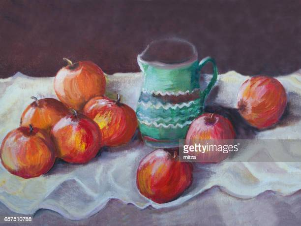 Oil painted still life with red apples and green ceramic vase