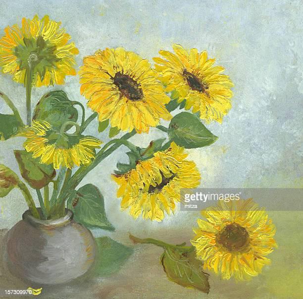 Oil painted sunflowers arrangement