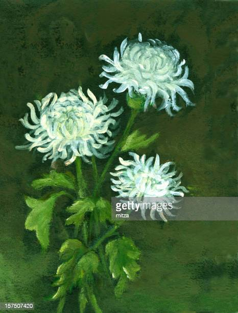 Oil painted Three Chrysanthemum Flowers