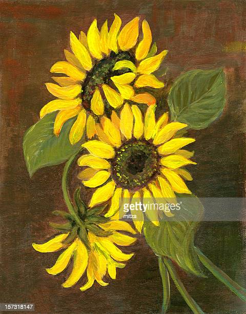 Oil painted three sunflowers arrangement on greenish-brown background