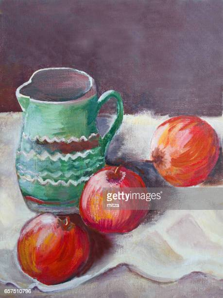 oil painted traditional ceramic vase with three red apples - craft product stock illustrations