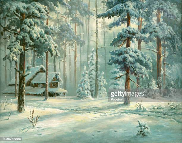 oil painted winter forest - national holiday stock illustrations