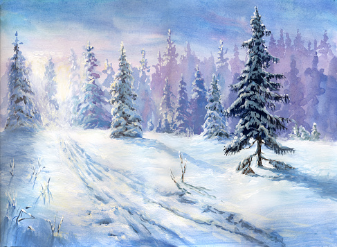Oil painted winter forest - gettyimageskorea