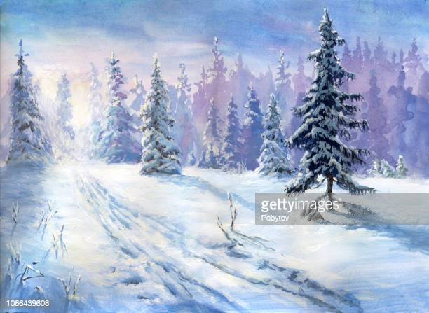 oil painted winter forest - winter stock illustrations